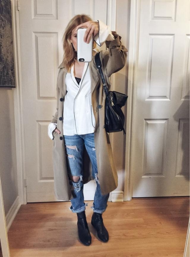 pyjama top, trench coat, boyfriend jeans, and sock boots