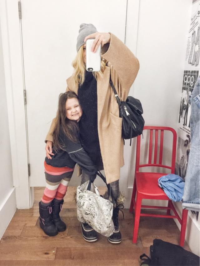 Mommy and me | Black oversized Turtleneck Sweater | Oversized camel coat | Grey Jeans | Joan of Arctic Sorels |