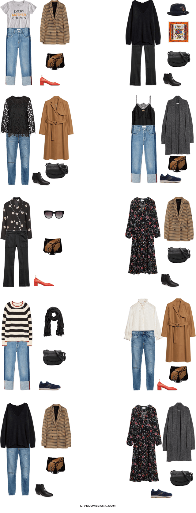 What to Pack for Paris, France Packing Light List Outfit Options 1-10 | What to France | Packing Light | Packing List | Travel Light | Travel Wardrobe | Travel Capsule | Capsule |