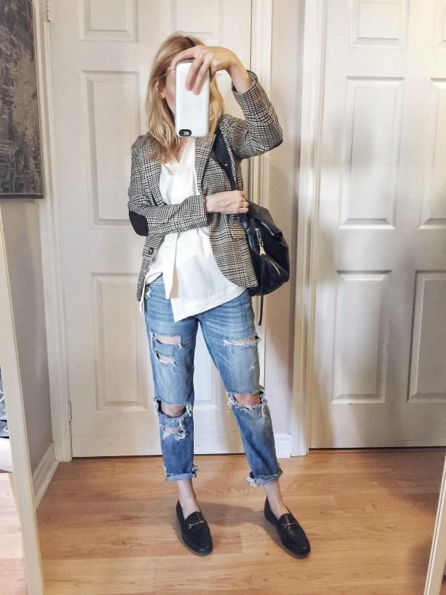 kimono wrap shirt | check blazer | boyfriend jeans | loafers