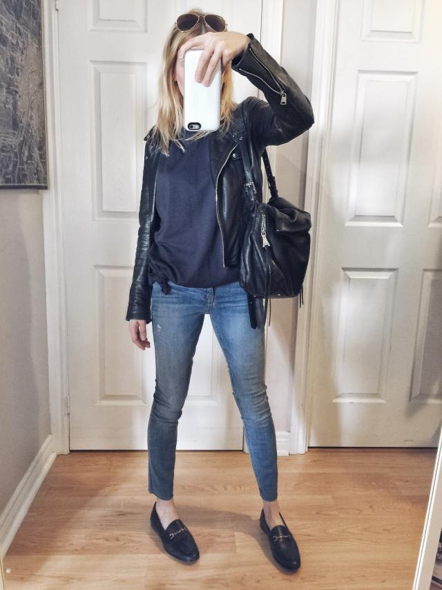 Cropped jeans | t-shirt dress as shirt | leather jacket | loafers |