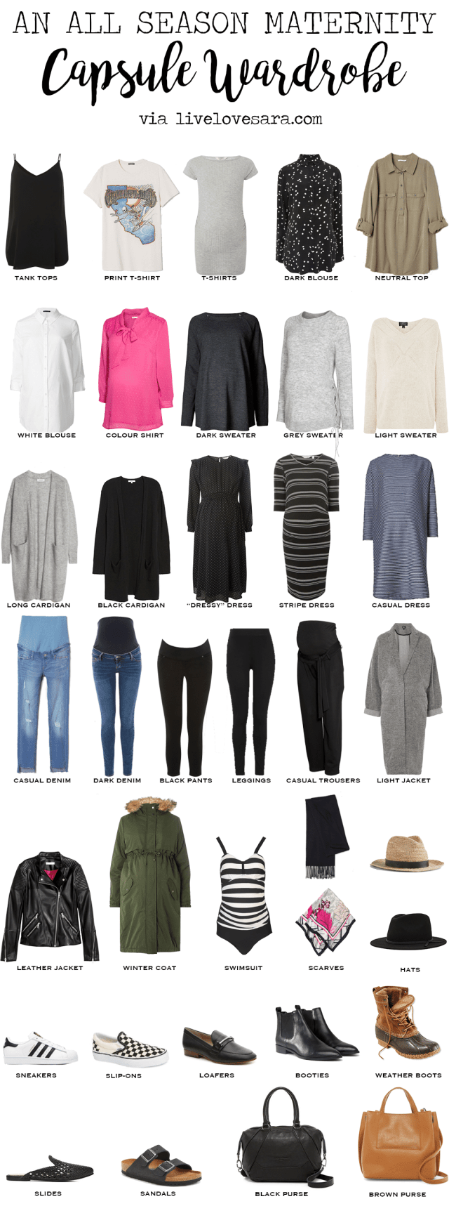 All season maternity capsule wardrobe | capsule wardrobe | maternity capsule | what to wear when pregnant | maternity clothes ideas | maternity wardrobe