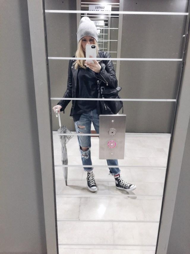 Leather Jacket   everyone Sweatshirt   Boyfriend Jeans   Leather Converse  