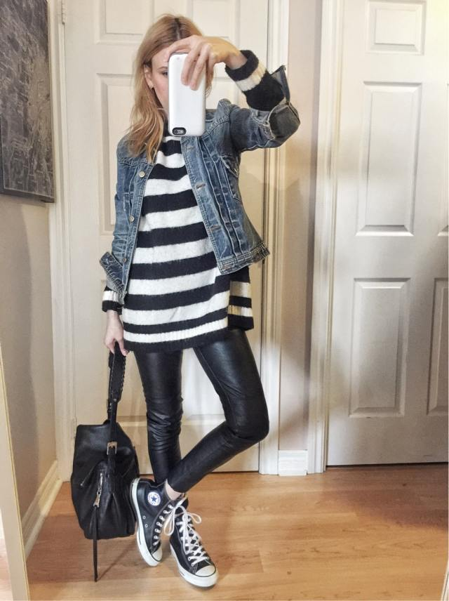 Striped sweater | Denim Jacket | Faux Leather Leggings | Leather Converse |