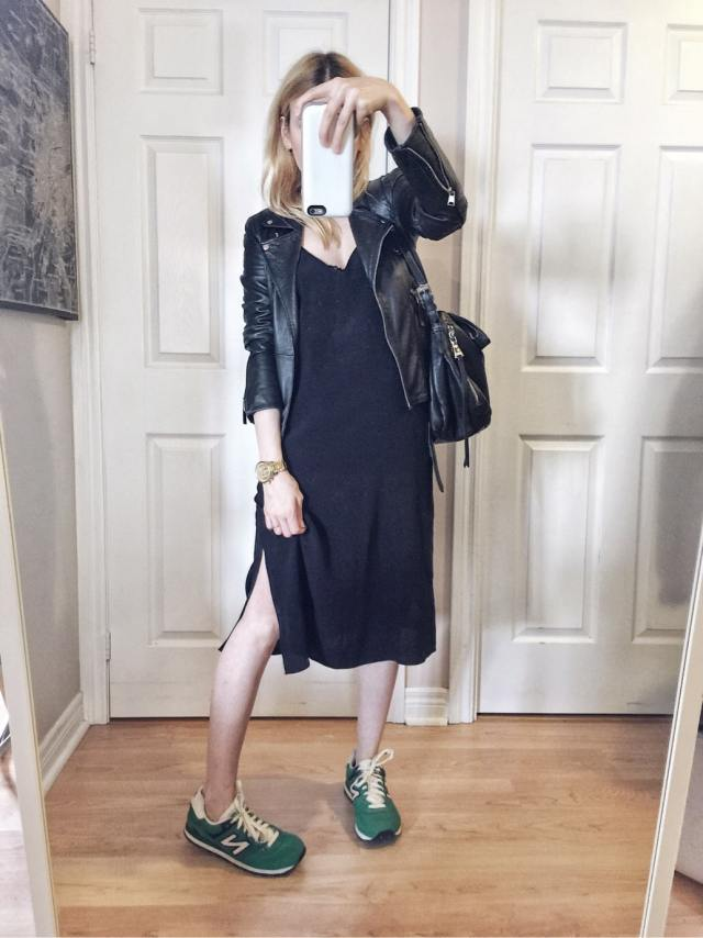 black slip dress | leather jacket | green new balance sneakers |