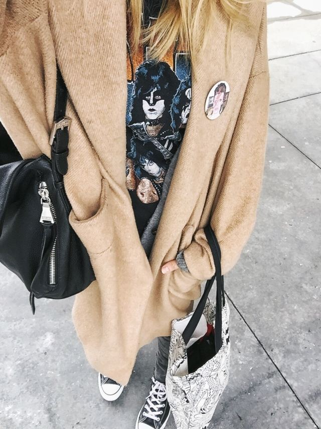 Long camel coat | Vintage Kiss t-shirt | David Bowie Ziggy Stardust Pin | Converse