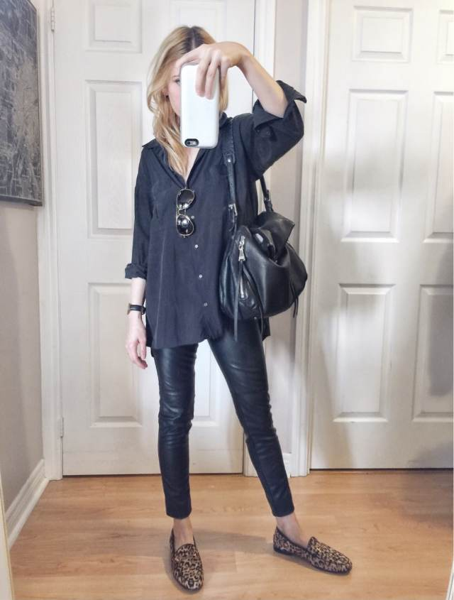 I am wearing faux leather leggings | and oversized black blouse | Same Edelman Loafers | and Ray-ban aviators
