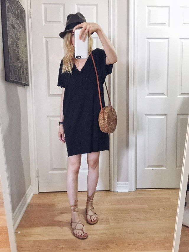 I am wearing a black t-shirt dress, vintage fedora, small circle purse, and Madewell Boardwalk Sandals