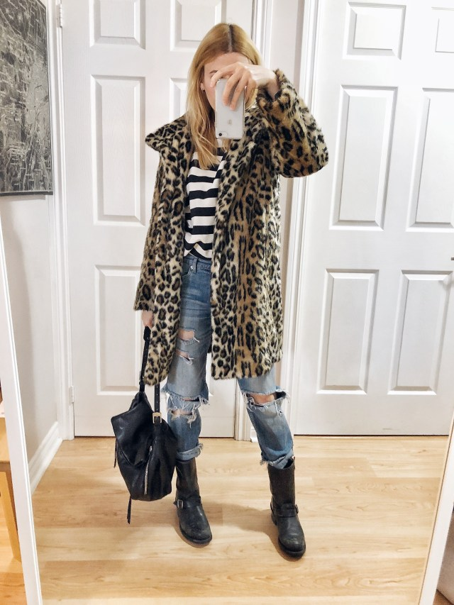 What I Wore. A striped sweatshirt, boyfriend jeans, animal print coat, and Frye Engineer 12R boots.