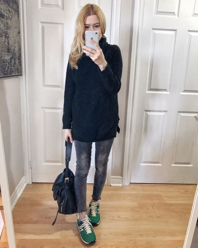 What I wore. An oversized black turtleneck sweater, grey skinny jeans, and green sneakers.