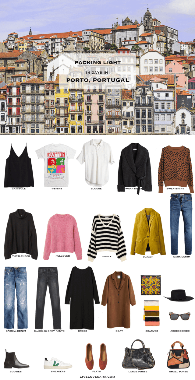 If you are wondering what to pack for a 14 day vacation to Porto, Portugal, you can see some ideas here. What to Pack for Portugal Packing Light List | What to pack for the Porto | What to Pack for Portugal | What to Pack for Autumn and Winter | Packing Light | Packing List | Travel Light | Travel Wardrobe | Travel Capsule | Capsule | Porto | Portugal