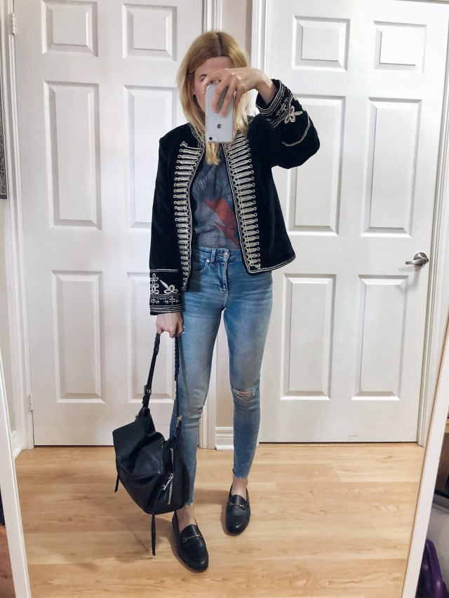 What I wore. I am wearing a Bowie t-shirt, a velvet band jacket, skinnies, and Sam Edelman loafers.