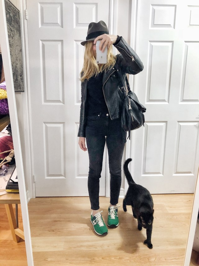 What I Wore. I am wearing a black sweater, black skinnies, a moto jacket, a fedora, and green vintage New Balance Sneakers. via livelovesara.com #livelovesara