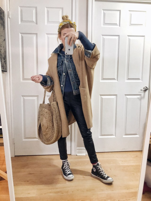 What I Wore. I am wearing a blue fuzzy sweater, denim jacket, black faux leather leggings, oversize wool coat, and black converse.