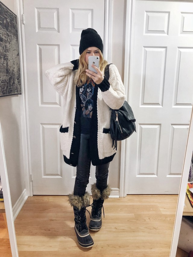 What I Wore. I am wearing a kiss t-shirt, oversized cardigan, black faux leather leggings, and black Sorel Joan of Arctic boots.