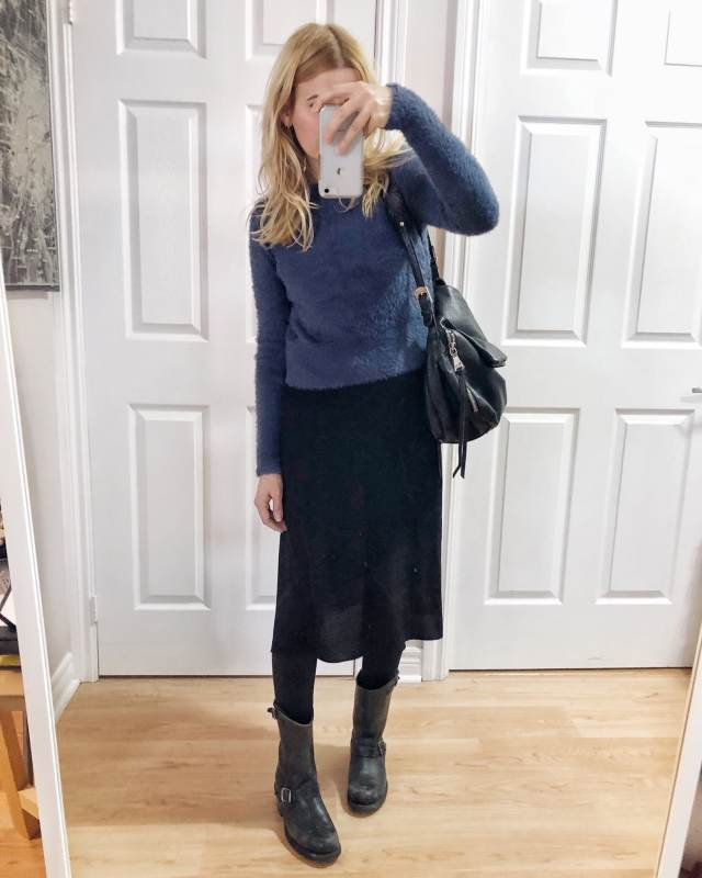 What I Wore. I am wearing a black slip dress, a blue sweater, and Frye Engineer Boots. via livelovesara.com #livelovesara