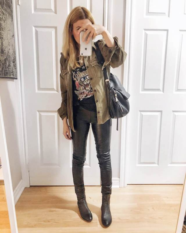 What I Wore. I am wearing an Aerosmith T-shirt from Dirty Cotton Scoundrels, an oversized military style jacket, faux leather pants, and black boots. #livelovesara