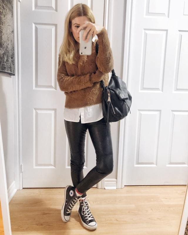 What I Wore. I am wearing a brown sweater, white blouse, faux leather leggings, and converse.