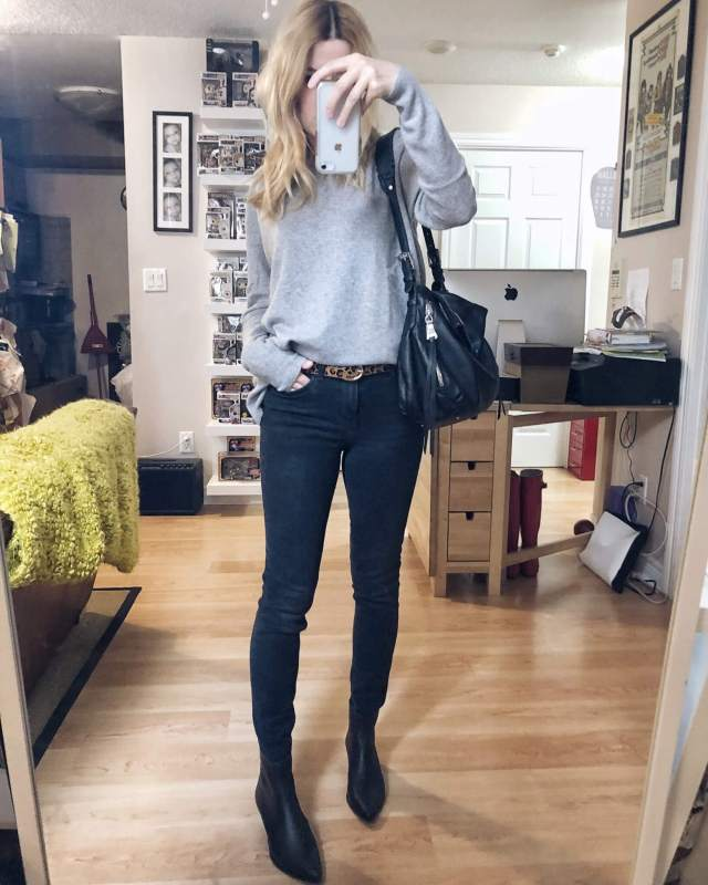 What I Wore. I am wearing a grey cashmere sweater, black skinnies, an animal print belt, and pointy toed black boots.