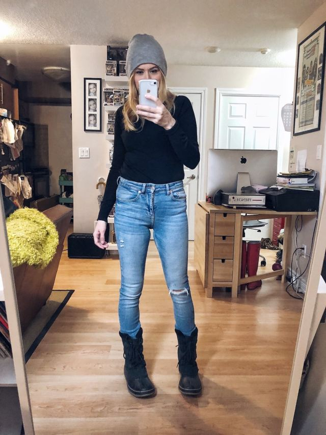 What I Wore. I am wearing a black knit turtleneck, highwaist skinny jeans, and Sorel Boots.
