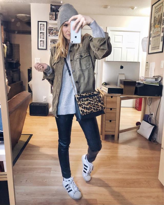 What I Wore. I am wearing a grey, cashmere sweater, faux leather leggings, a oversized utility shirt, and Adidas.
