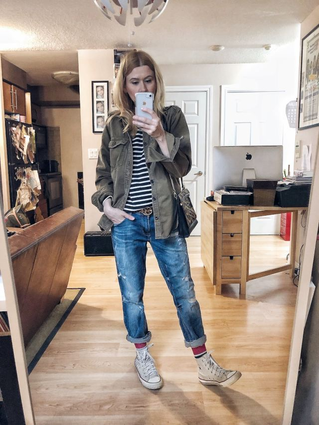 What I Wore. I am wearing an Everlane striped breton, thrifted cargo shirt, boyfriend jeans, and converse.
