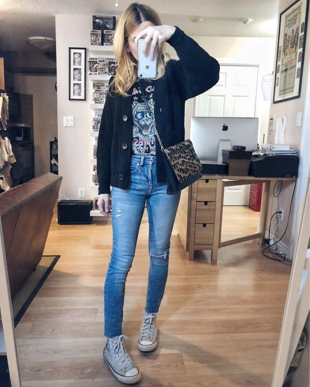 What I Wore. I am wearing an aerosmith t-shirt, an Everlane Cardigan, skinny jeans, and off-white Converse. via livelovesara