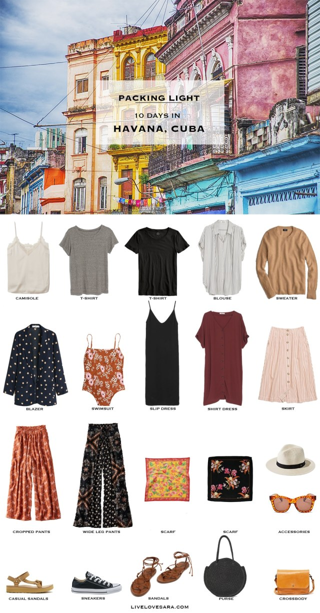 Are you wondering what to pack for Cuba? I have a Havana, Cuba packing list to help you on your way. Head over to my post for what to pack and outfit ideas. Cuba Packing List | What to pack for Havana | #worldtravel #travelcuba #beachvacation #packinglight Packing Light | beach vacation | Travel Light | Travel Wardrobe | Travel Capsule | Capsule | Pack for vacation #travellight #packinglight #travelcapsule #capsulewardrobe #capsule