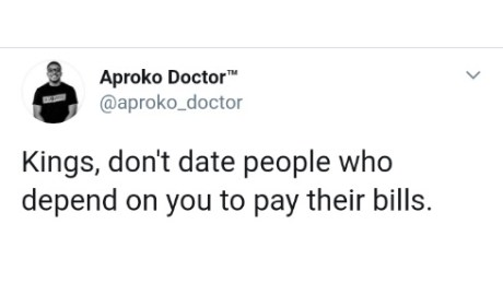 Do Not Date People Who Cannot Pay Their Bills-Doctor Writes