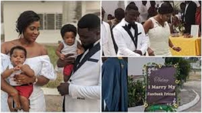 'How We Met On Facebook & Had Twin Boys'-Ghanaian Man Gushes Over Bride