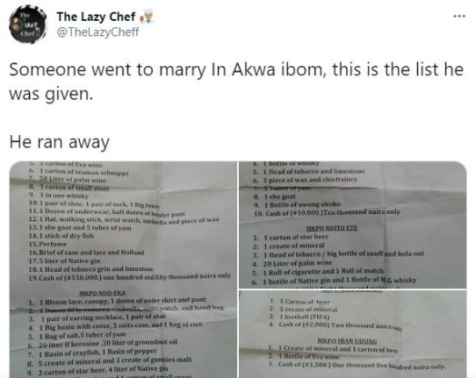 Outrageous Traditional Marriage List In Akwa Ibom: Man Runs Away