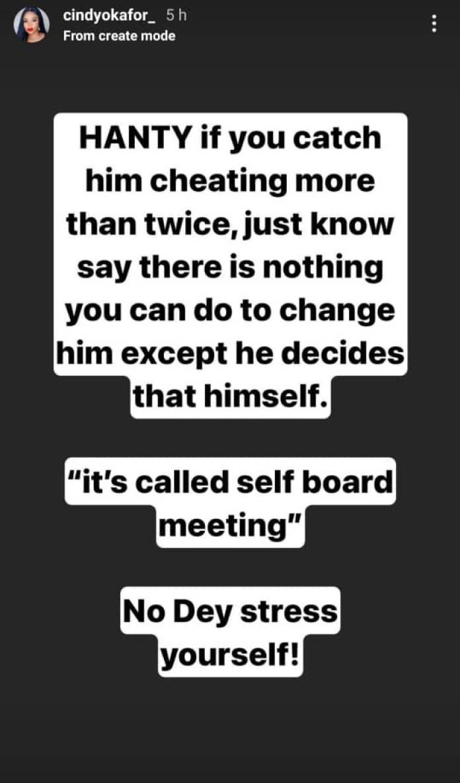 """He won't change"" - BBNaija's Cindy Okafor tells women with cheating partners"