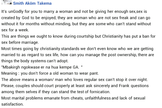 """It's Ungodly For You To Marry A Woman And Not Be Giving Her Enough S*x"" – Governor Ortom's SSA, Writes."