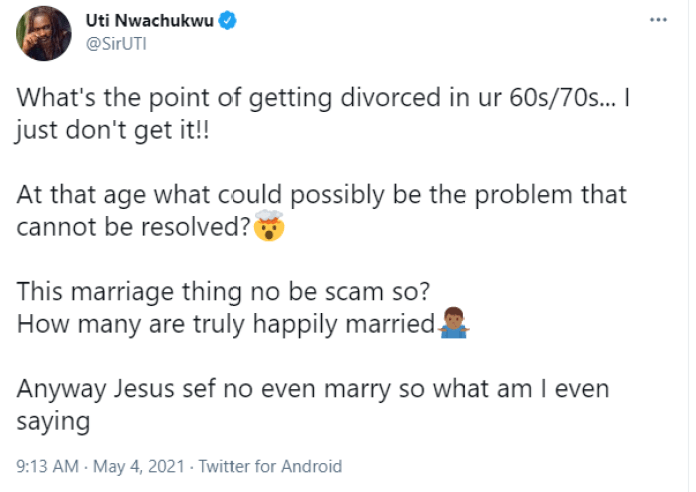 ''What's the point of getting divorced in ur 60s/70s?''- Uti Nwachukwu asks hours after Bill and Melinda Gates announced their divorce