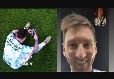 Messi videocalls his wife to celebrate Argentina's Copa America win