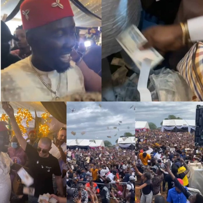 Money Rain As Obi Cubana Buries Mother In Style- Residents And Bouncers Scramble For Money Sprayed (videos)