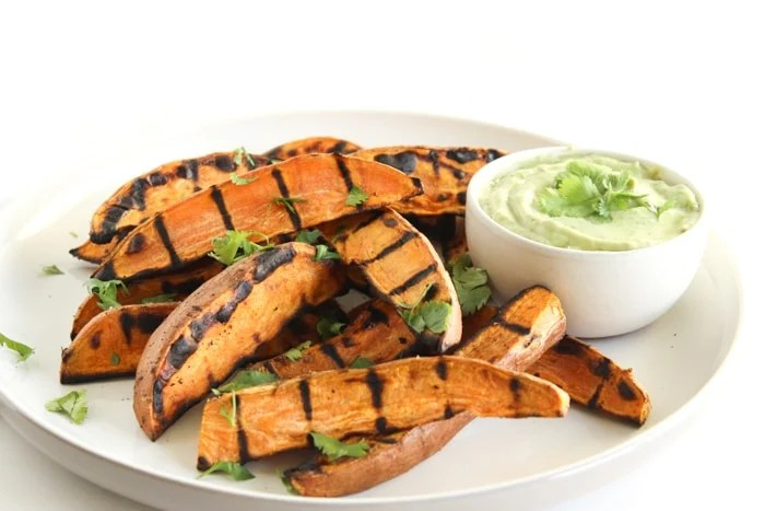Grilled Sweet Potato Wedges with Avocado Cream Sauce