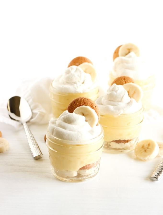 Thick and creamy healthier banana pudding bursting with so much delicious banana flavor, you won't even know it's better for you! Cute mini servings are easy to serve and fun to eat, or make a single big bowl to feed a crowd! (vegetarian) | via livelytable.com