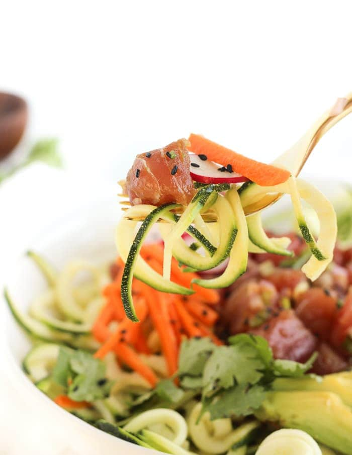 If you love poke or sushi, you'll love this Zucchini Noodle Poke Bowl! It's is a fresh and delicious meal that requires no cooking and is full of fresh vegetables. (gluten-free, dairy-free)