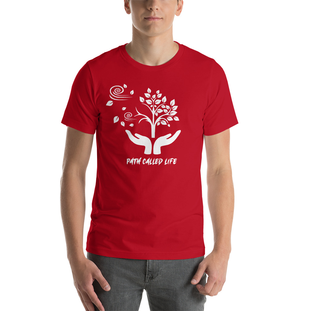 Red T-shirt featuring the Path Called Life artwork on the front