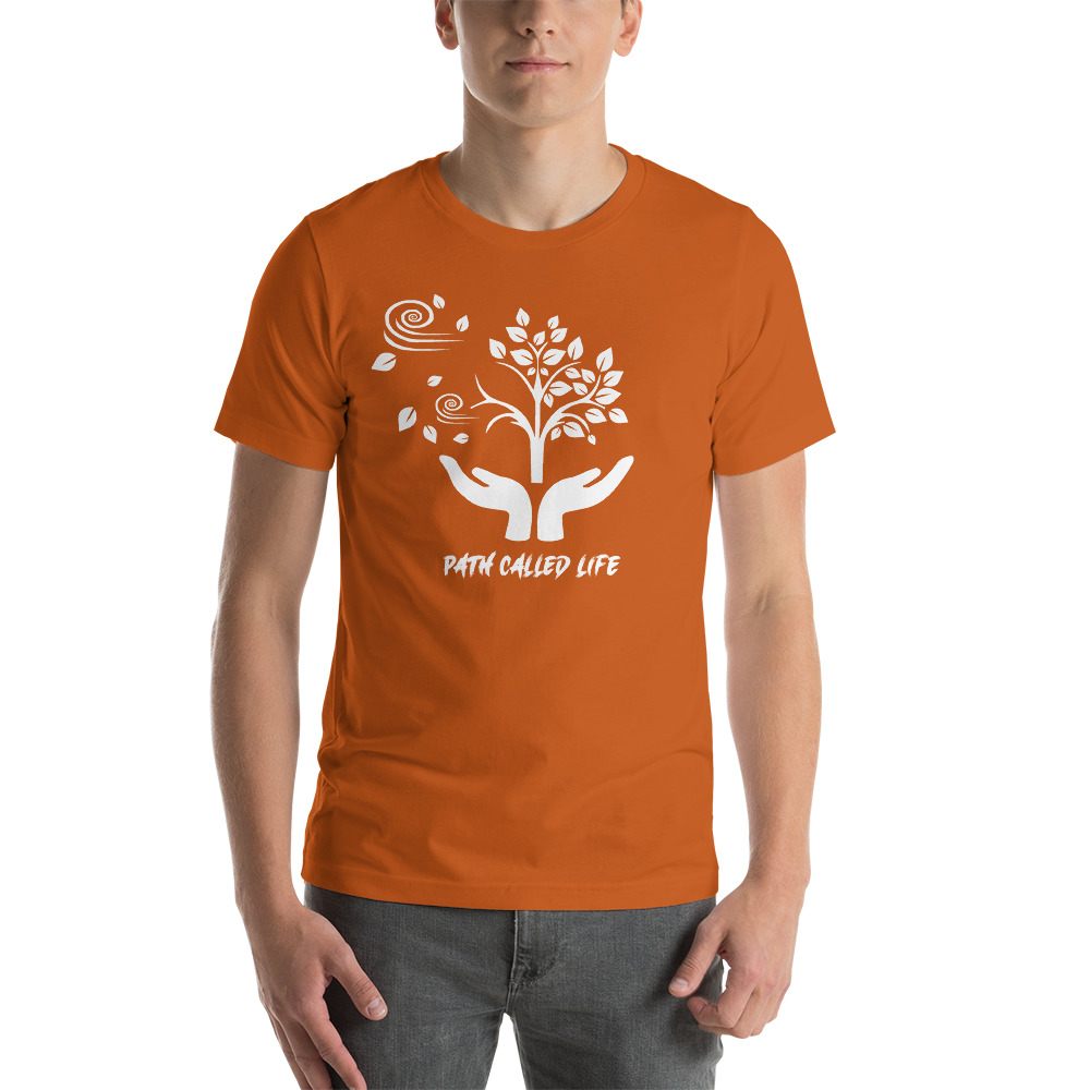 Orange T-shirt Mock Up of a Path Called Life, sold by Live Mic Records, the Bespoke Record Label Service company in America