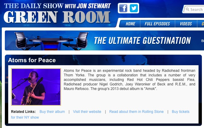 atoms for peace to appear on the daily show