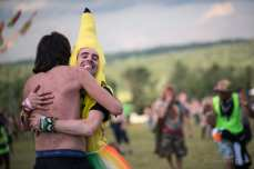 """""""Free Hugs"""" from the guy in the banana costume."""
