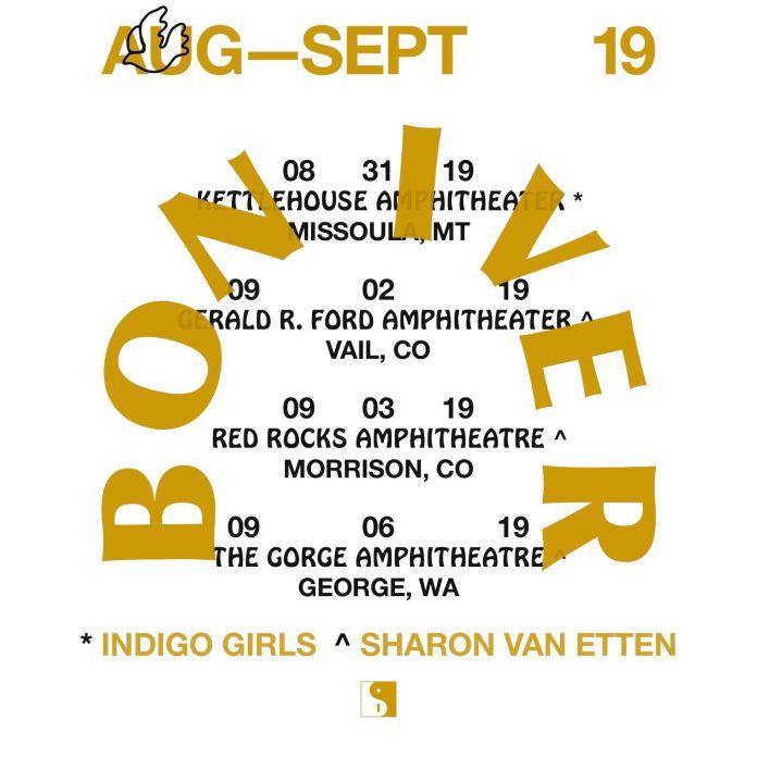 bon iver 2019 tour dates late summer 2019