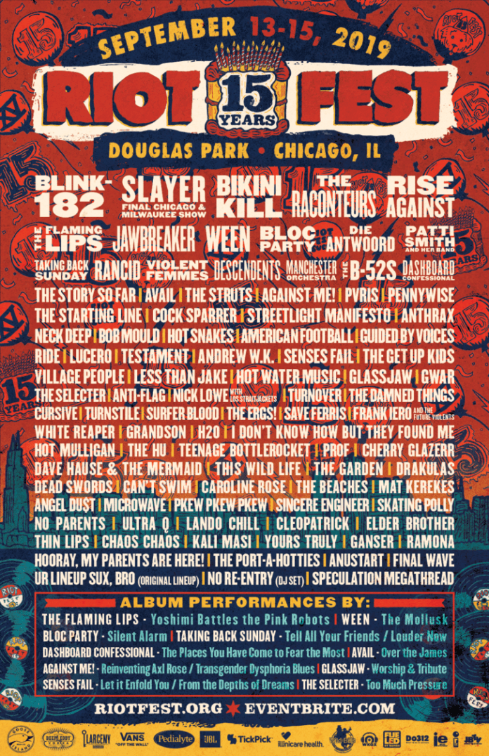 riot fest announces 15th year anniversary lineup 2019