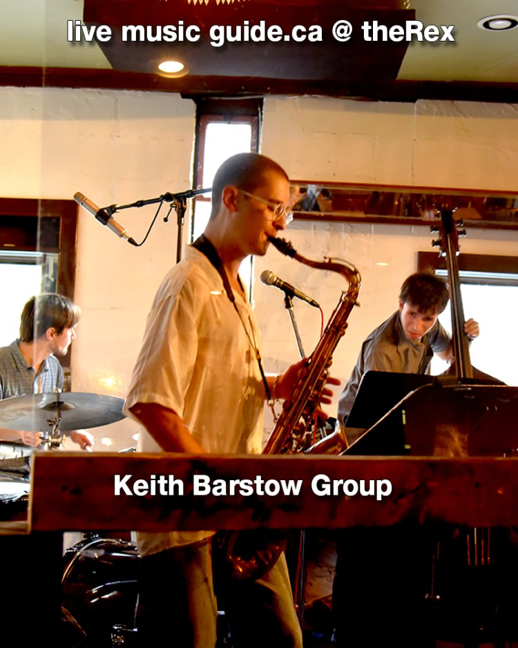 """Late Nights at The Rex: Keith Barstow Group As far as mottos go, The Rex Hotel Jazz and Blues Bar prefers to keep it simple. """"More Great Jazz than anywhere else, all the time!"""" is their commitment. They honour it very well, and especially now as we return to a world of late-night drinks and live jazz. Having just reopened, The Rex has caught the attention of many a music lover yearning for a night of musical whimsy. And they've prepared well for it, too: the unmistakable venue has invested in all the modern equipment necessary. Their stage boasts floor-to-ceiling glass walls to ensure a barrier between musician and audience, and they are certainly taking full advantage of the outdoor patio craze of summer 2021. On Monday, July 26, the kicked off the week with some smooth live tunes. With Keith on the drums, Ian on the horns, and David on the bass, they were the quintessential jazz trio, perfect to sip summer cocktails along to. They met at U of T and have been making music together ever since. All three seemed thrilled to finally be back in the music scene, and their fervour was clear in their performance. In fact, I daresay their stage presence as group easily made up for the plastic barriers separating them from the audience. They have little social media presence and tend not to advertise much, claiming they really do it for the love of music. This love of music may be all the advertising they need, because we sincerely recommend you go check out the Keith Barstow group next time they play The Rex."""