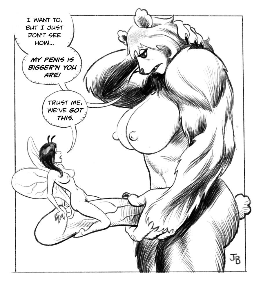 Is futanari beast too big to have sex with the wee fairy?