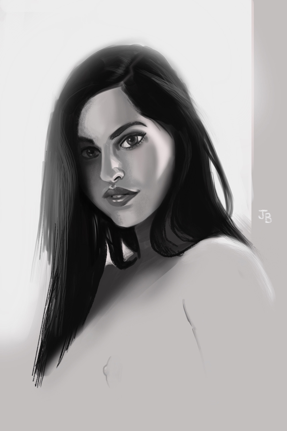 portrait study of Nesty from SuicideGirls. Drawn in Photoshop and Procreate.