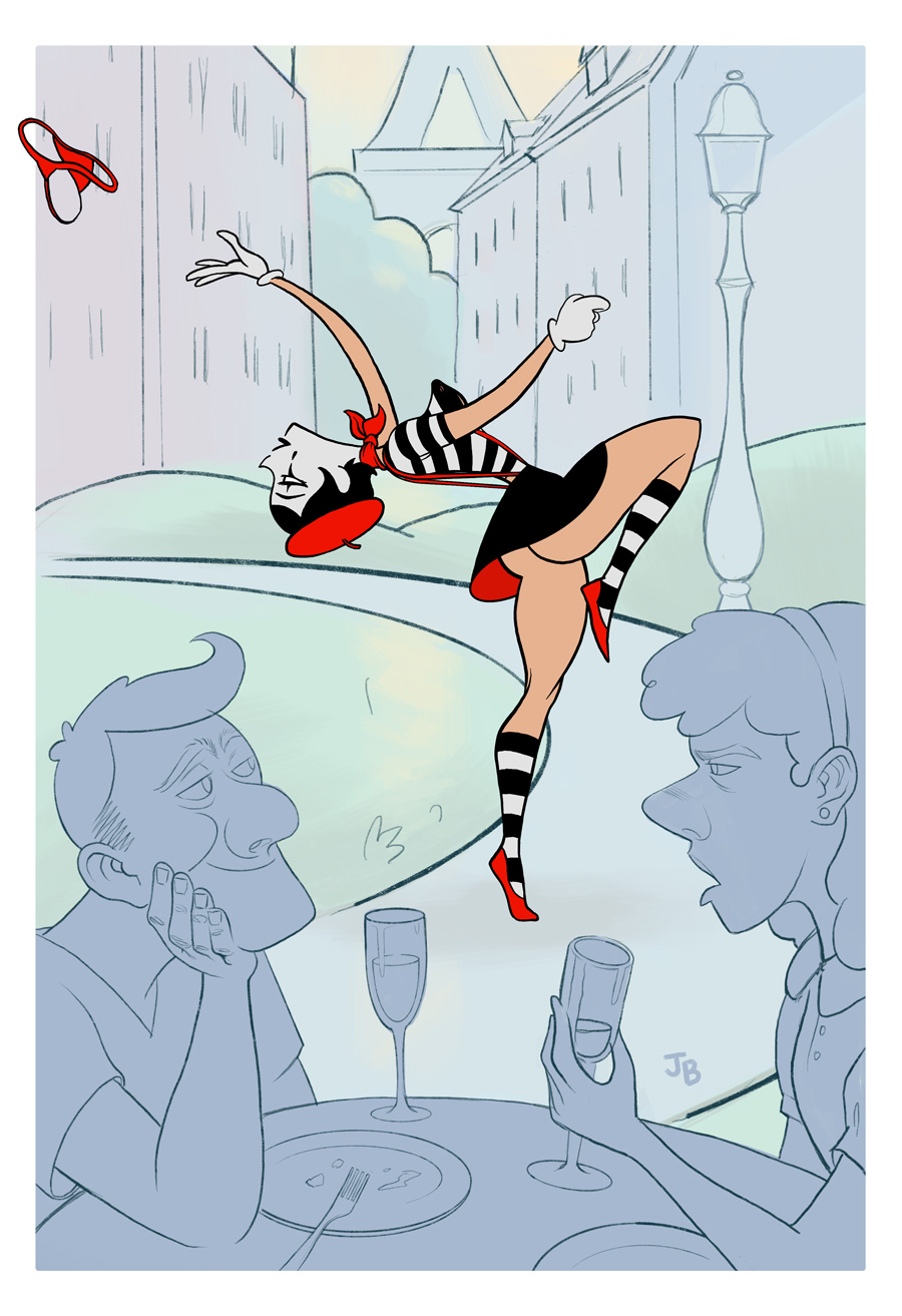 A mime does a striptease on an invisible stripper pole