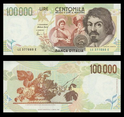 100.000 lire Caravaggio